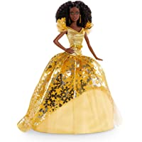 Barbie Signature 2020 Holiday Barbie Doll (12-inch Brunette Curly Hair) in Golden Gown, with Doll Stand and Certificate…