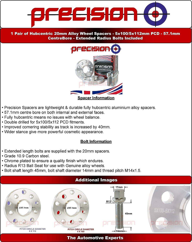 1Z Bolts for Genuine Śkoda Octavia Alloy Wheels 1U 20mm Hubcentric Spacers 1 Pair 5E Part No 2PHS2+10BM1445R153