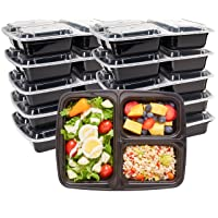 Durahome - Meal Prep Containers with Lids, 10-Pack, 3 Compartment BPA Free Food...