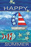 """LANG - Mini Garden Flag - """"Happy Summer """", Exclusive Artwork by Wendy Bentley - All-Weather, Fade-Resistant Polyester  - 12"""" w x 18"""" h"""
