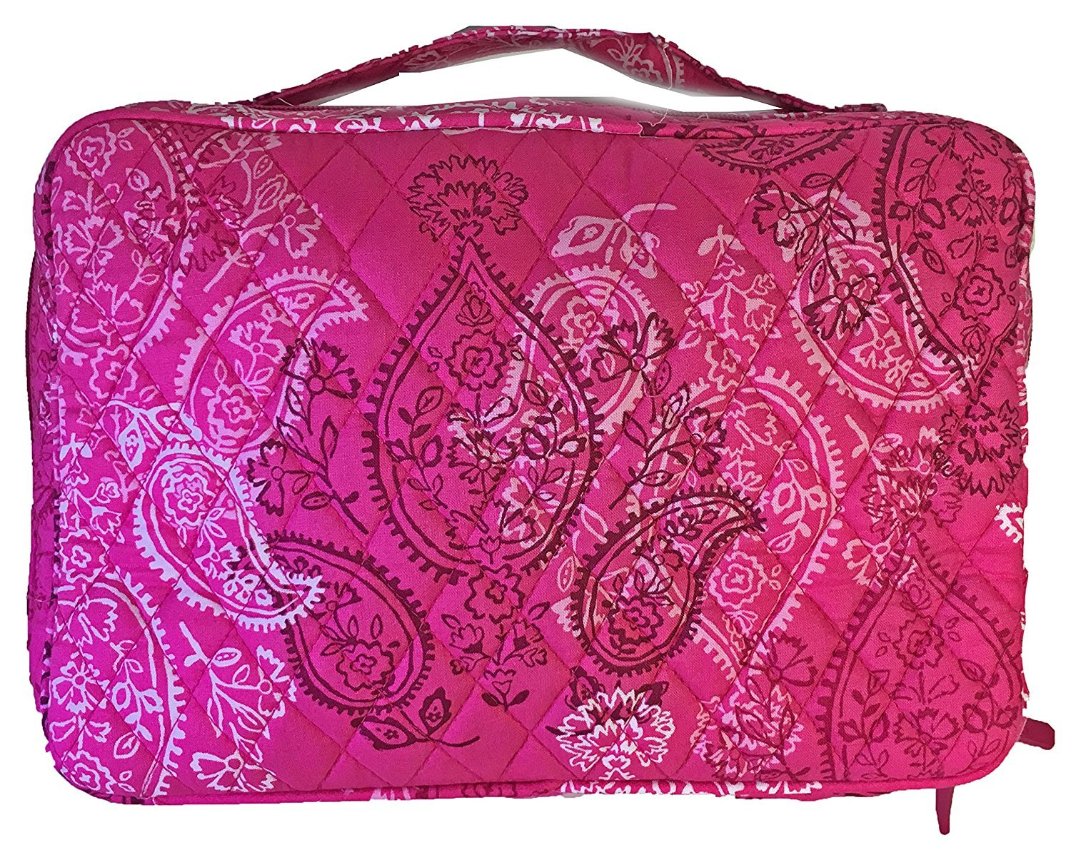Vera Bradley Large Brush and Blush Makeup Case Stamped Paisley with Solid Pink Interior