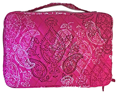 2f5f1c6cec Amazon.com   Vera Bradley Large Brush and Blush Makeup Case (Stamped  Paisley with Solid Pink Interior)   Beauty