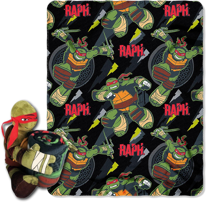 "Nickelodeon's Teenage Mutant Ninja Turtles, ""Ralph Strikes"" Printed Fleece Throw Blanket with Hugger, 40"" x 50"", Multi Color"