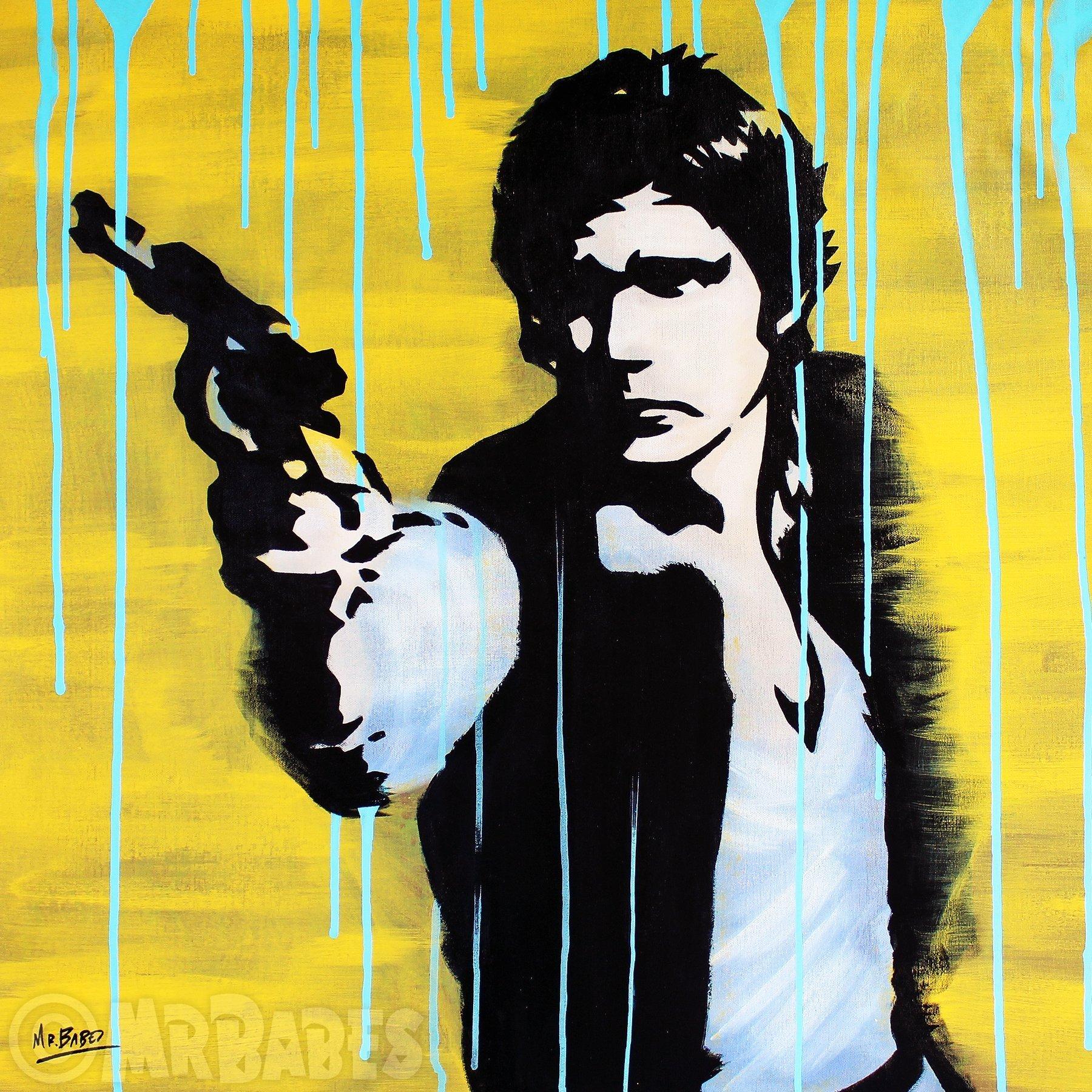 MR.BABES - ''Star Wars: Han Solo (Harrison Ford)'' - Original Pop Art Painting - Movie Portrait