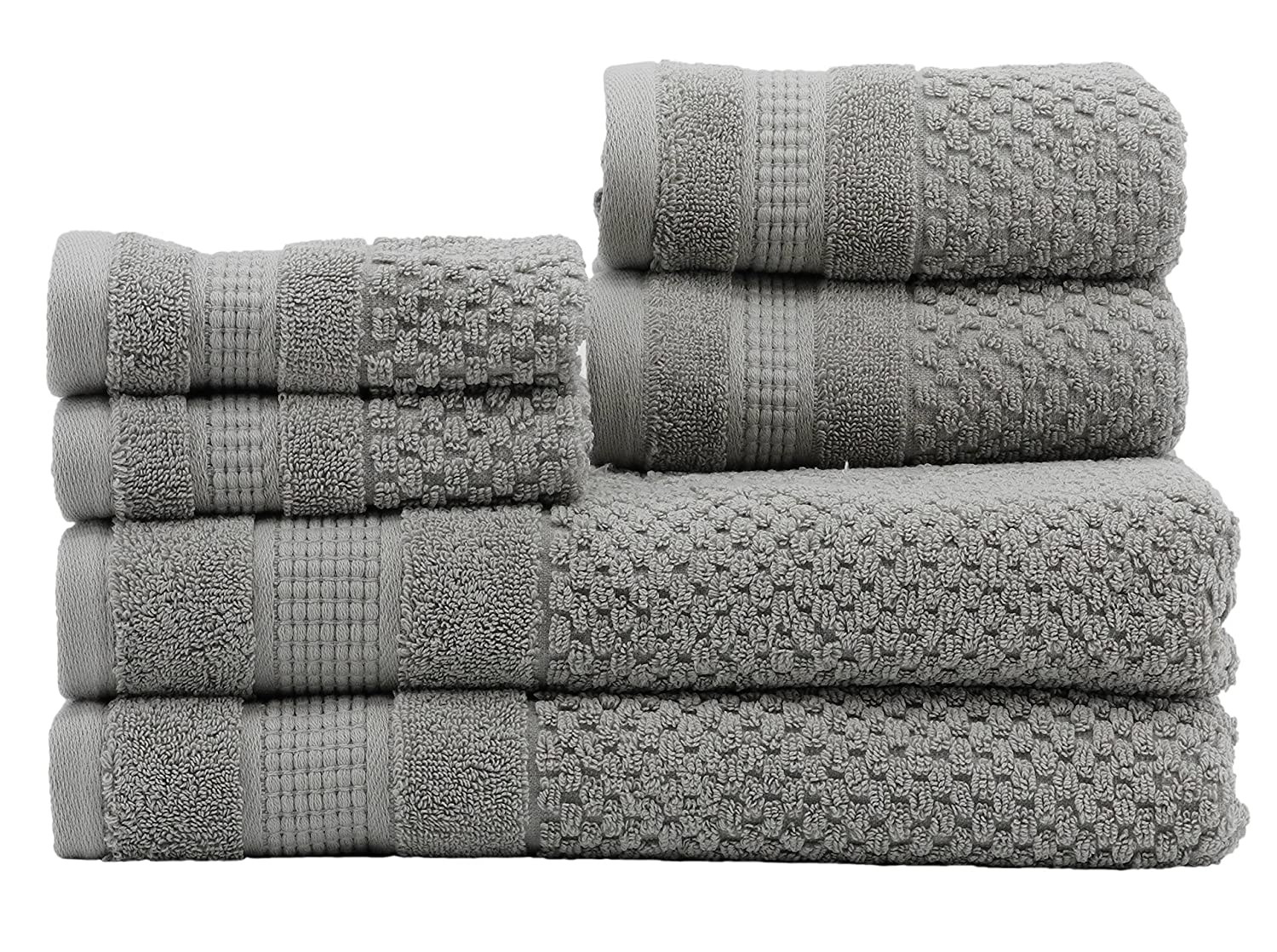 Caro Home Pebble 6 Piece Bath Towel Set, Large, Nickel 6S1372T4205
