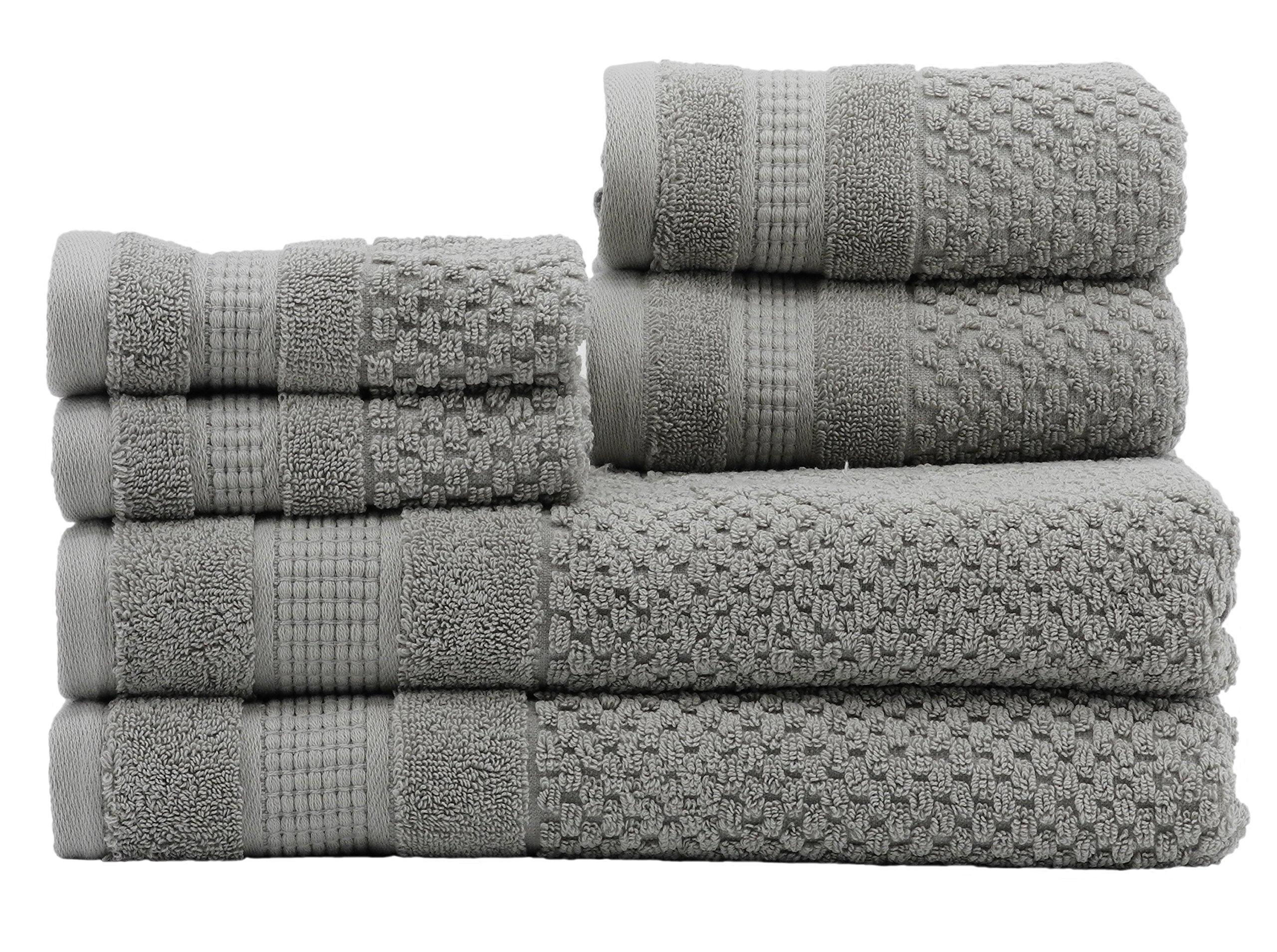 Caro Home Pebble 6 Piece Bath Towel Set, Large, Nickel