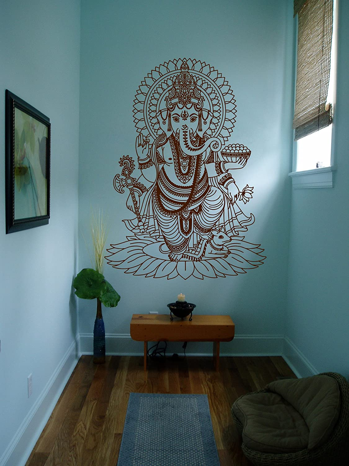 STICKERSFORLIFE Ik430 Wall Decal Sticker Room Decor Wall Art Mural Indian God Om Elephant Hindu Success Buddha India Ganesha Ganesh Hindu Welfare Bedroom Meditation Yoga