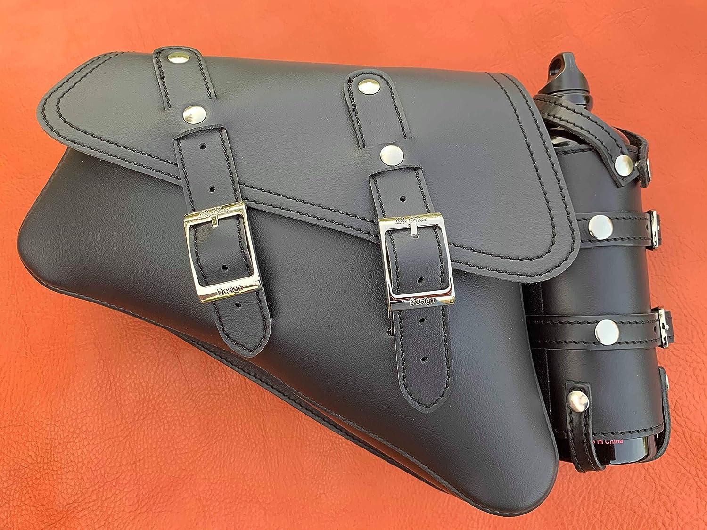 La Rosa Design 04-UP Harley-Davidson Sportster Nightster 1200 Forty-Eight 72 Roadster Left Side Saddle Bag Swingarm Bag with Fuel Bottle Holder Black Faux Leather
