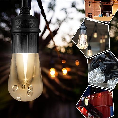 Enbrighten Vintage LED Caf String Lights with Stainless Steel Lens Shade, Black, 48ft, 24 Lifetime Bulbs, Premium, Shatterproof, Weatherproof, Indoor Outdoor, UL Listed, 43376