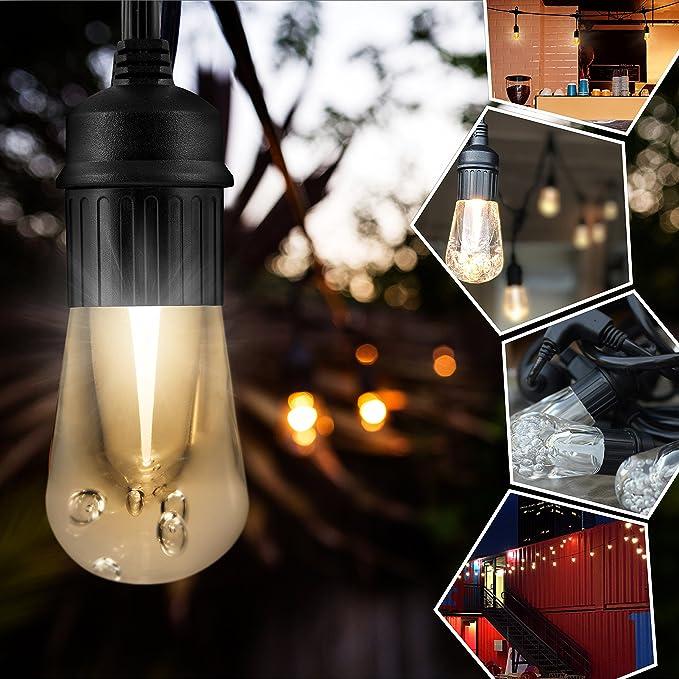Amazon.com: Enbrighten Vintage LED Cafe String Lights, Black, 12 Foot Length, 6 Impact Resistant Lifetime Bulbs, Premium, Shatterproof, Weatherproof, ...