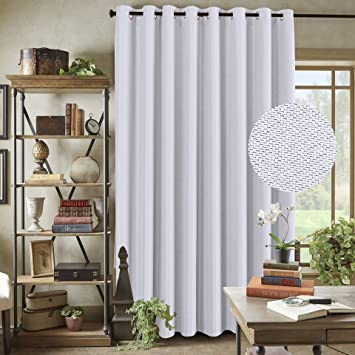 Amazoncom Extra Wide Curtain Panels White Room Darkening Textured