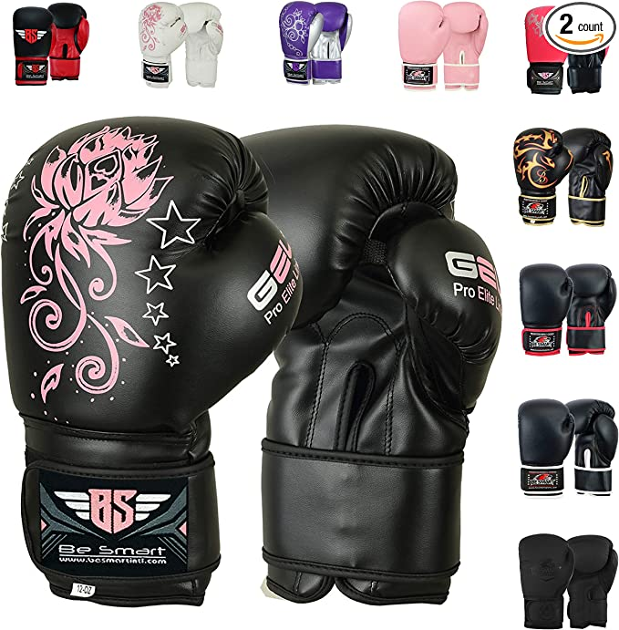 TEKXYZ Bad Kids Series Boxing Gloves 4 6 OZ Synthetic Leather Kids Boxing Training Gloves with Vivid Color for Boys and Girls Age 3 to 12 Years Old