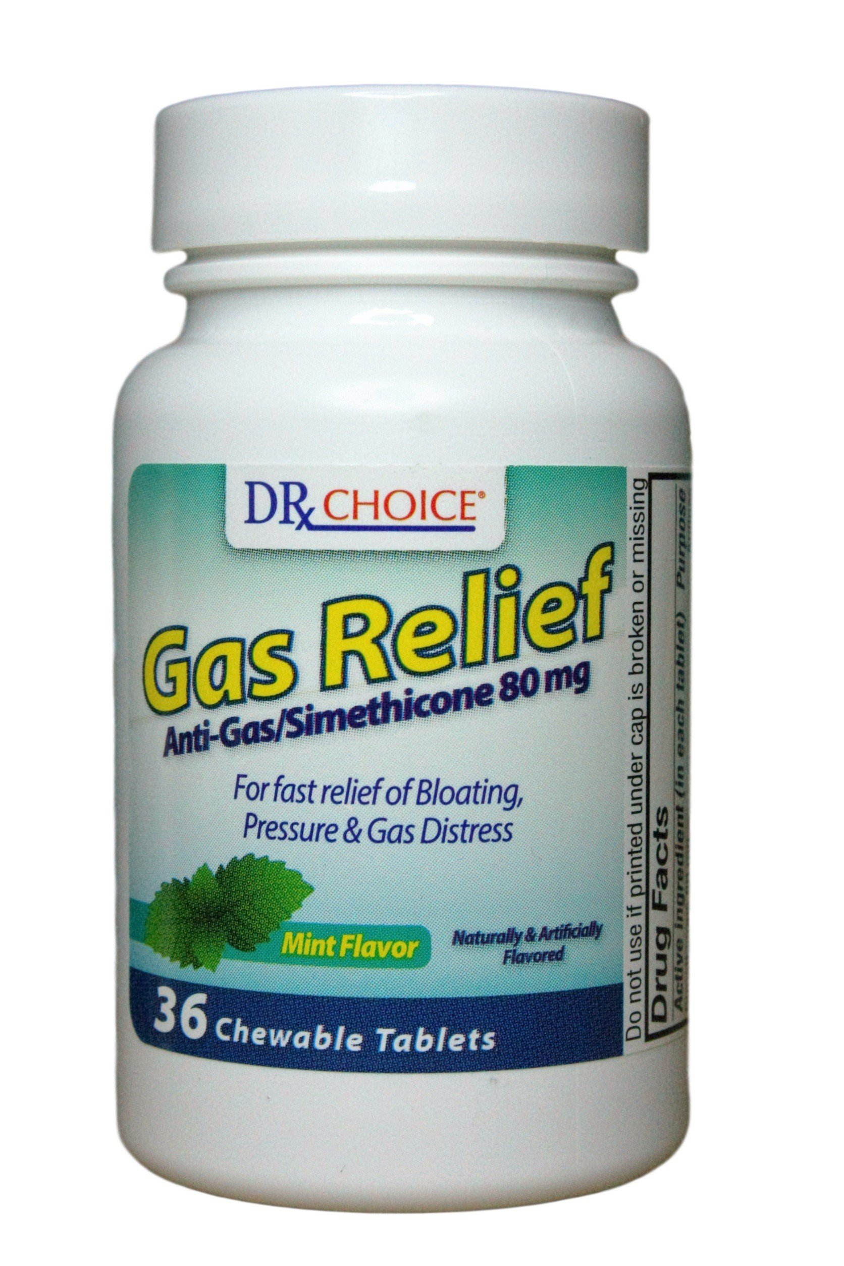 Dr Choice Gas Relief Anti-gas/simethicone 80mg 36 Chewable Tablets