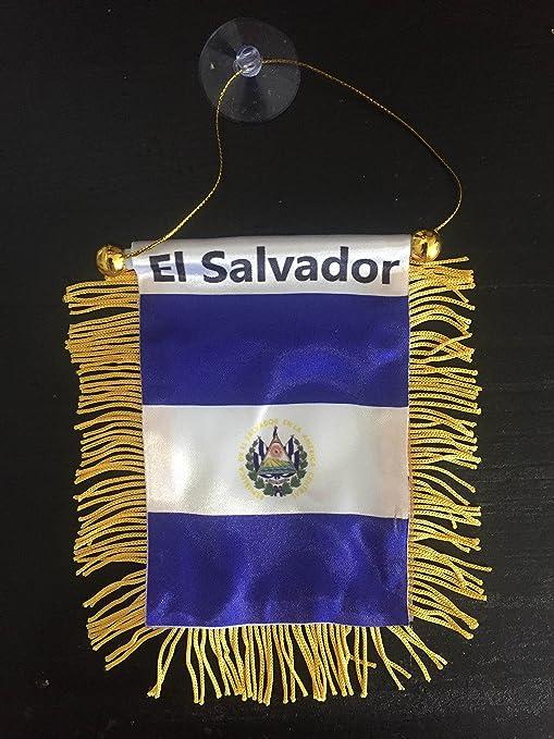 El Salvador Bandera Mini bandera 3 x 4,25 W/Cadena De Ventosa Coche Ventana: Amazon.es: Deportes y aire libre