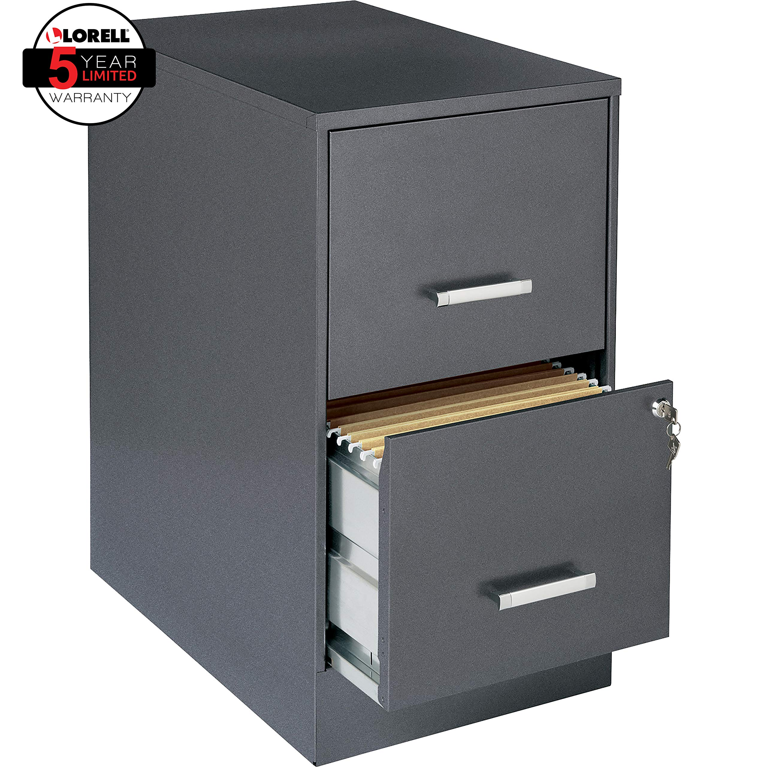 Lorell Office Dimensions 22'' Deep 2 Drawer Letter-Sized Metal File Cabinet, Metallic Charcoal (16871)