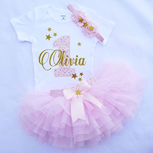 7b5f4851bc2e Amazon.com: Baby Girl 1st Birthday Outfit,First birthday outfit girl,1st  birthday girl outfit in Pink Gold,Smash cake outfit girl,twinkle twinkle  little ...