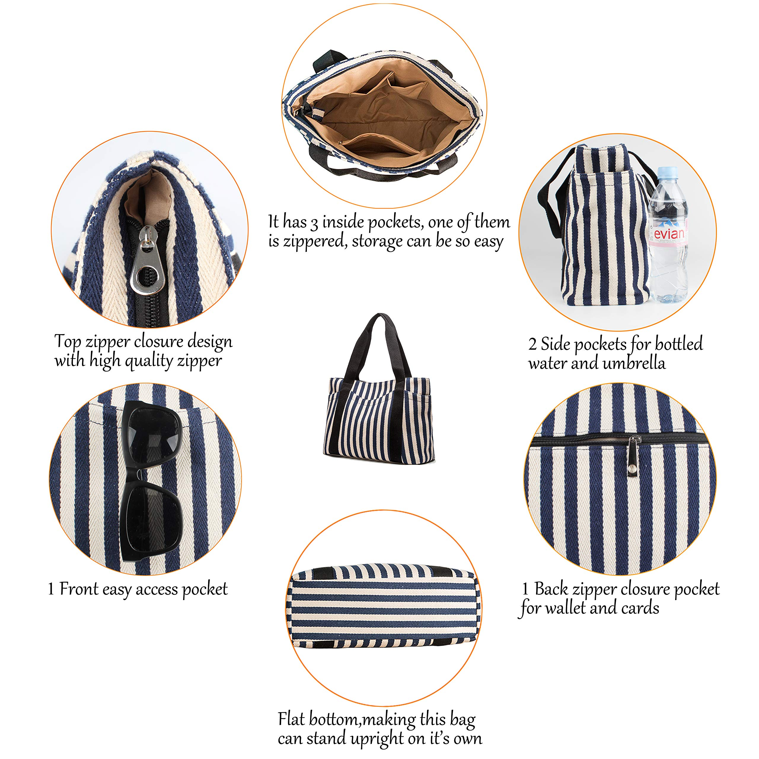 Canvas Tote Bag with Multiple Pocket/Zipper Closure Sholuder Bag/Travel Bag for Weekend/7 Pocket/Perfect Bag for Gift by sornean (Image #2)