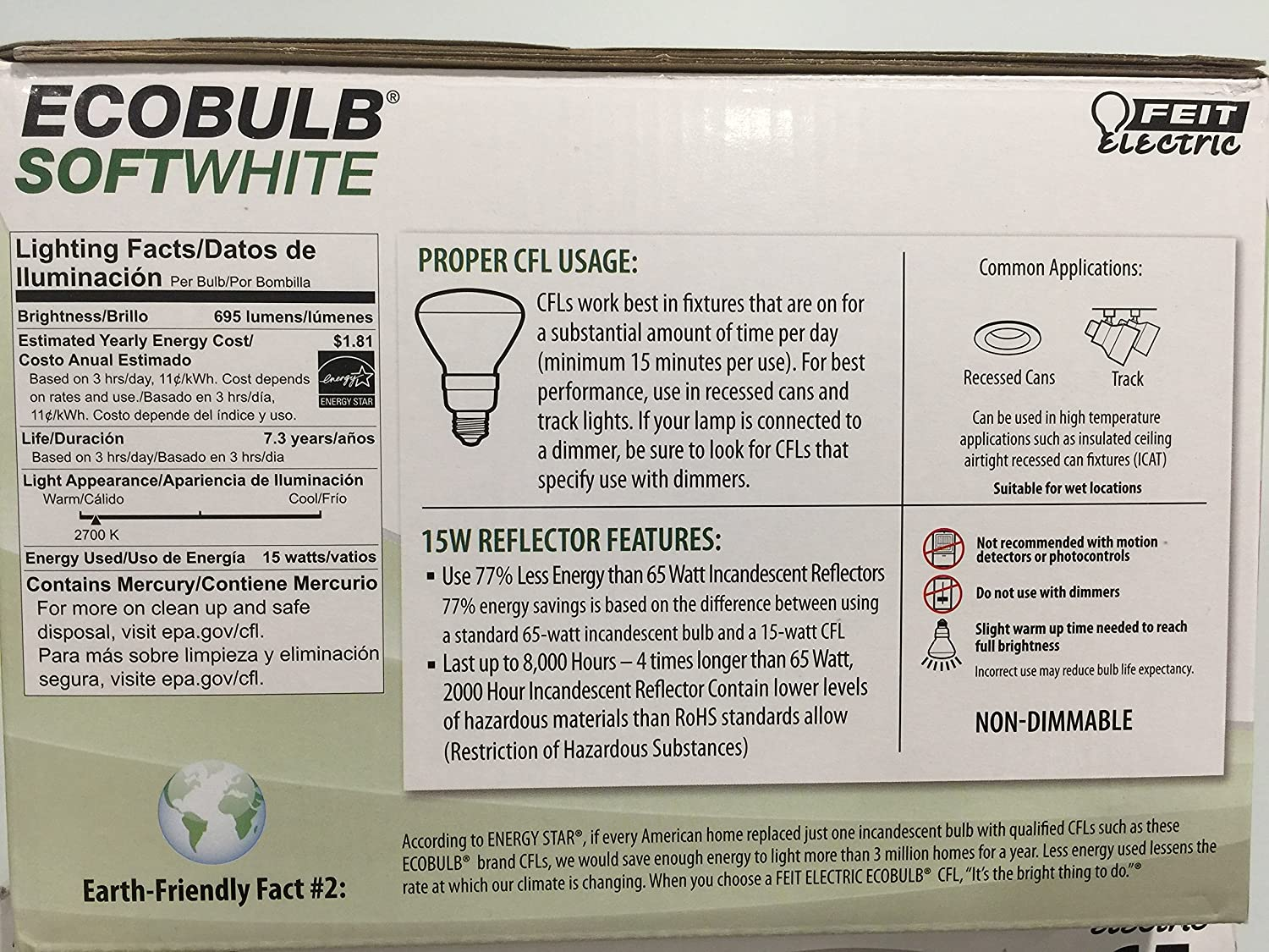 Feit ESL15BR30/ECO/6 65W Equivalent CFL BR30 Bulb (Pack of 6), Soft White - Standard Shaped Incandescent Bulbs - Amazon.com