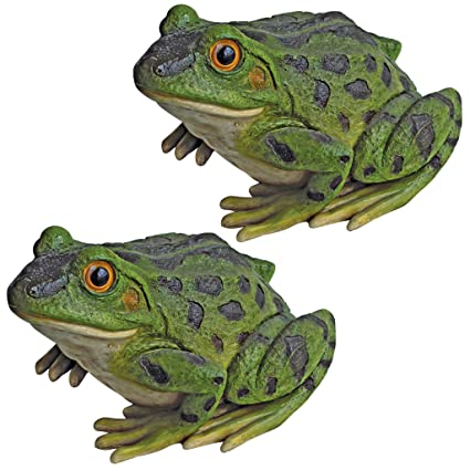 Merveilleux Design Toscano Ribbit The Frog Garden Toad Statues, 9 Inch, Set Of Two,