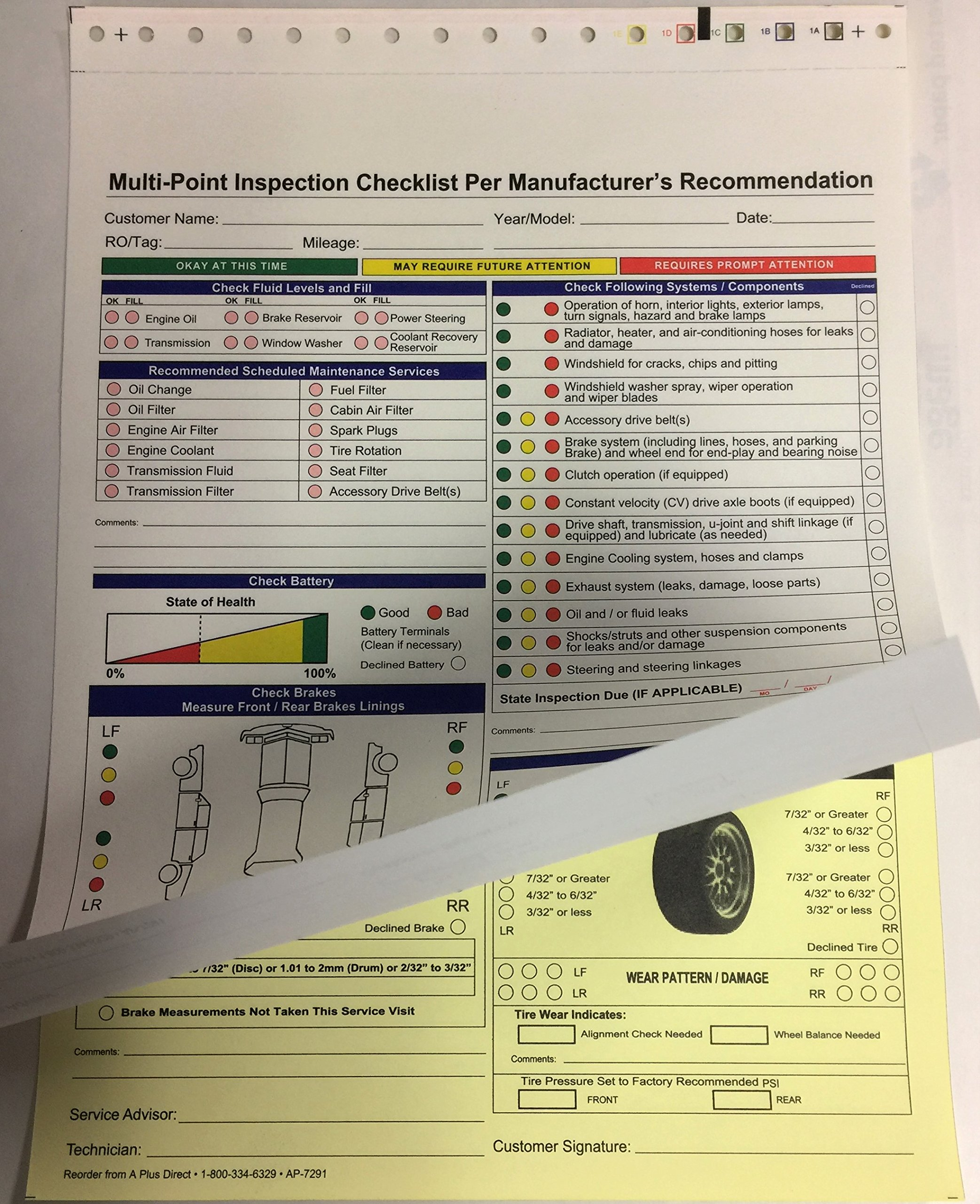 Multi-Point Inspection Forms - (250/pack) 7291 (W15) by A Plus Dealer Supplies (W15) (Image #2)
