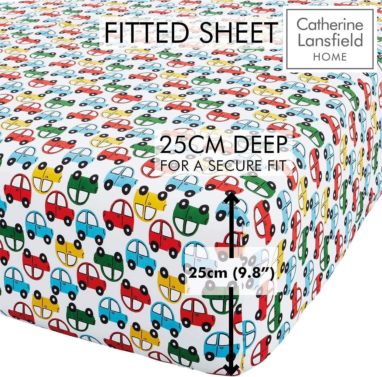 Drap-Housse Simple Catherine Lansfield Coussin 3D en Polyester en Forme de Voiture Couleurs Lumineuses color/é
