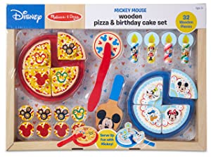 Melissa & Doug Disney Mickey Mouse Wooden Pizza and Birthday Cake Set (32 Pieces, Play Food, Great Gift for Girls and Boys - Best for 3, 4, 5 Year Olds and Up)