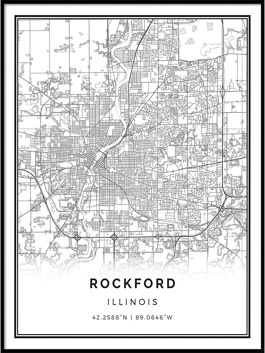 Squareious Rockford map Poster Print | Modern Black and White Wall Art | Scandinavian Home Decor | Illinois City Prints Artwork | Fine Art Posters 11x14