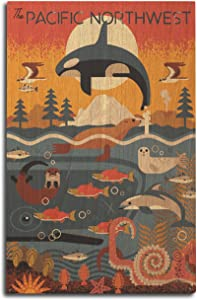 Lantern Press Pacific Northwest, Marine Animals, Geometric 87042 (10x15 Wood Wall Sign, Wall Decor Ready to Hang)