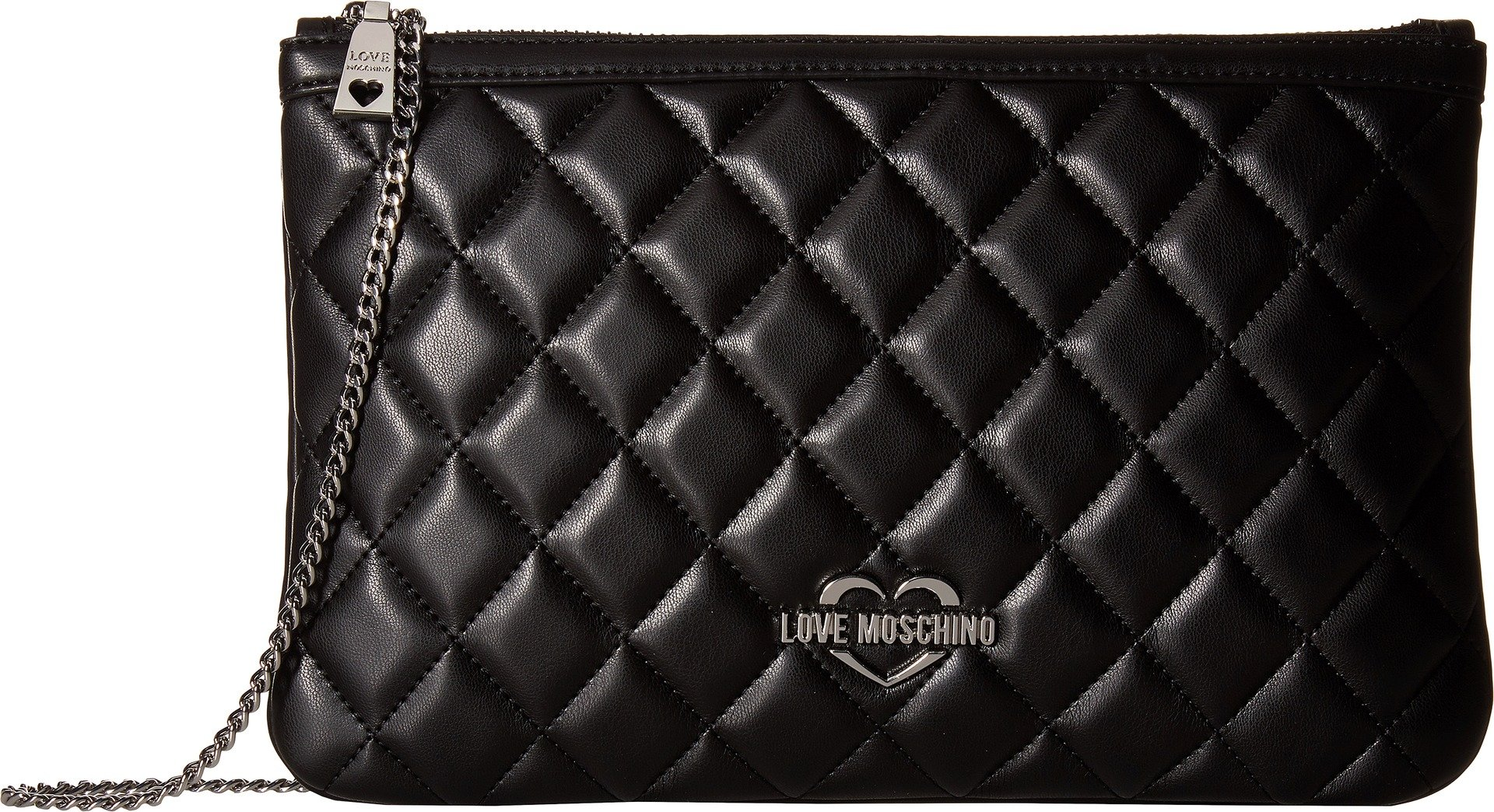 LOVE Moschino Women's Quilted Crossbody Chain Strap Fantasy Black/Nickle Chain One Size