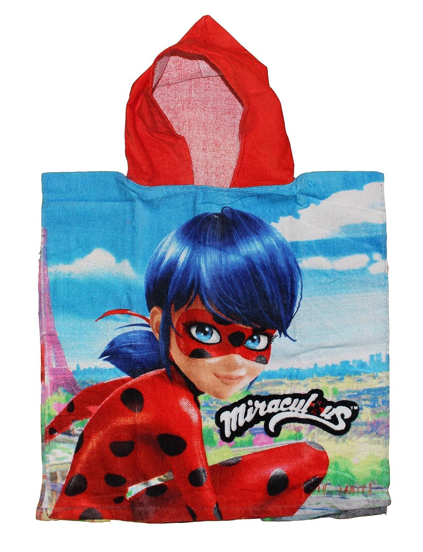 Miraculous Lady Bug Poncho de bain Poncho serviette de bain pour enfant, 100 % coton, bleu, 50 x 100 cm ZAG