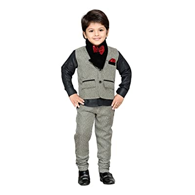 AJ Dezines Kids Indian Wear Bollywood Style Shirt Waistcoat and Pant Clothing Set For Boys