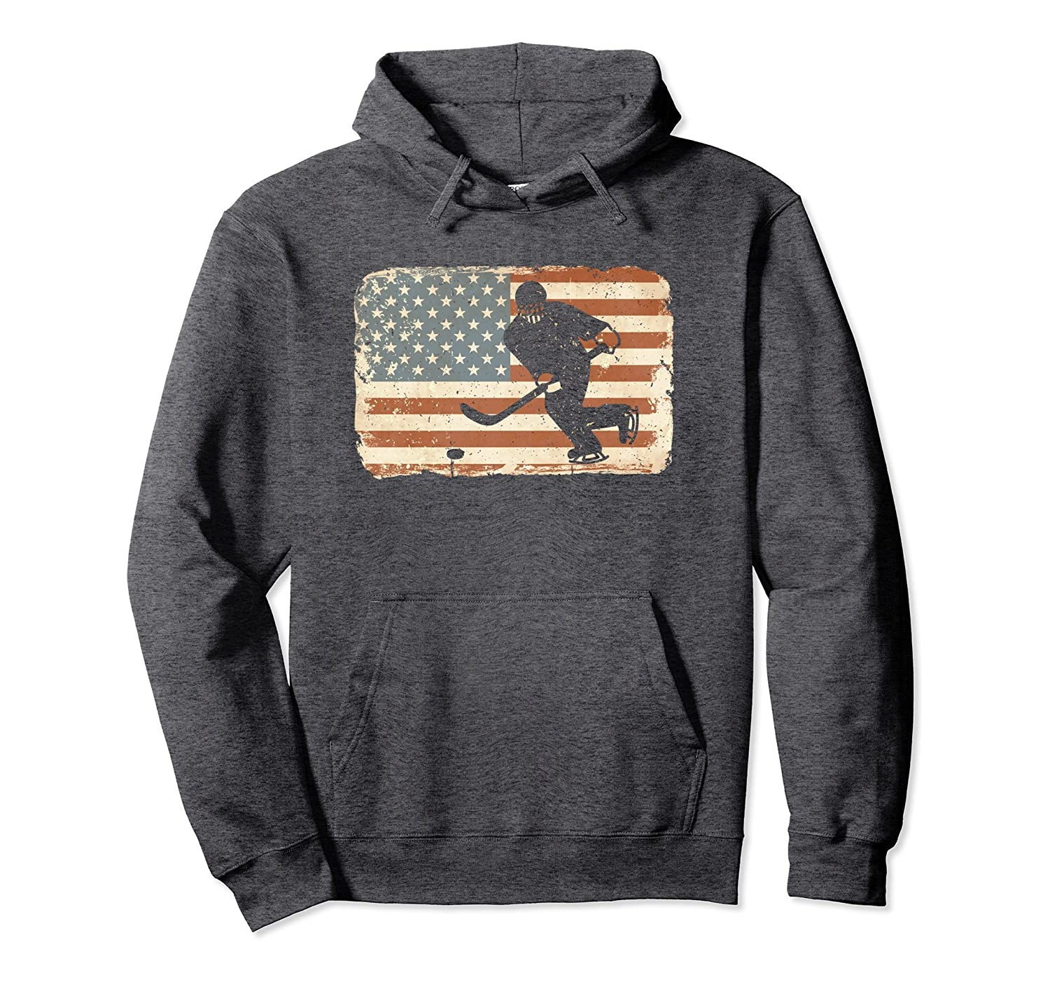 Vintage Ice Hockey Hoodie American Flag USA Sweatshirt