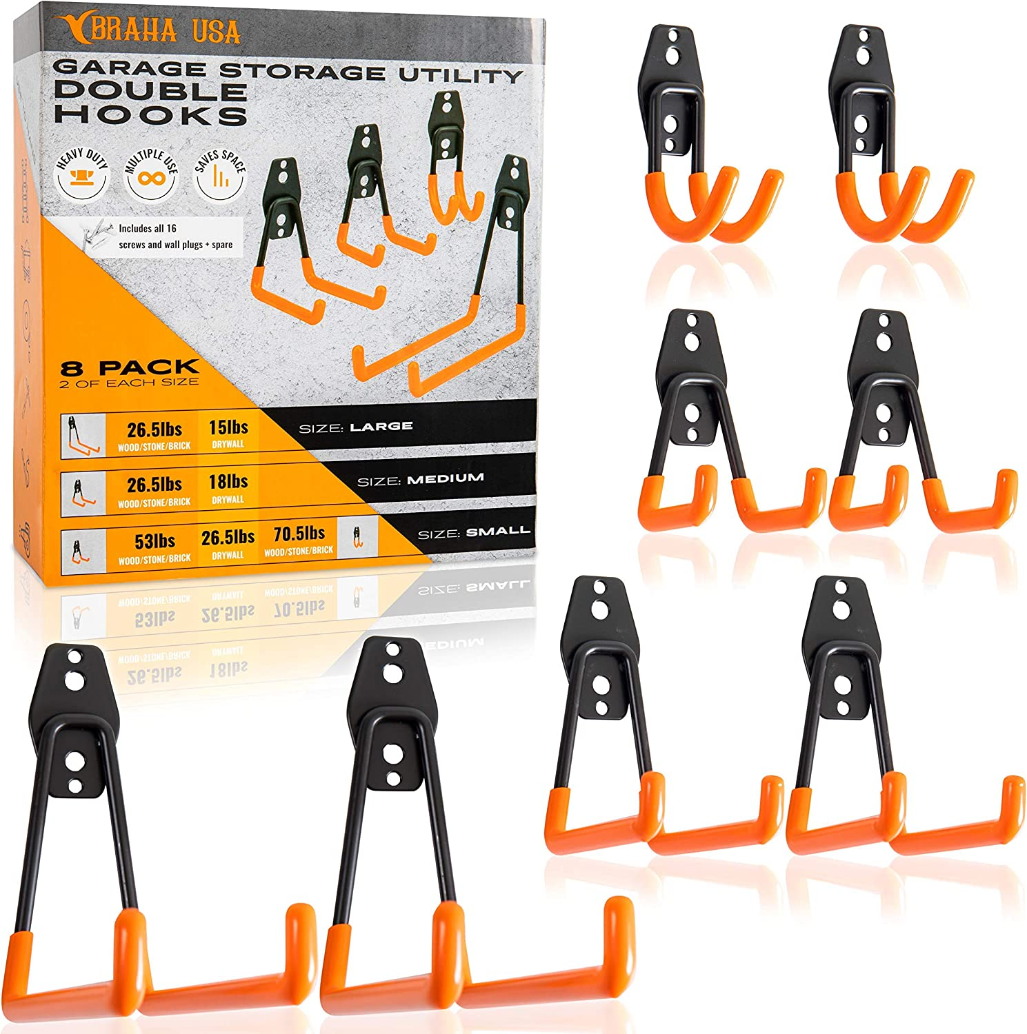 Braha USA Tool Hangers for Garage Wall - Steel Garage Storage Utility Double Hooks - Heavy Duty Wall Mount Hanging Hooks for Organizing Power Tools, Ladders, Bikes, Bulk Items & Ropes - Pack of 8