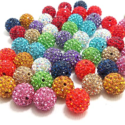 50pcs 10mm Red Clay Rhinestone Crystal Shamballa Beads Bracelet Diy Beads For Jewelry Making Round Pave Disco Ball Beads Beads & Jewelry Making