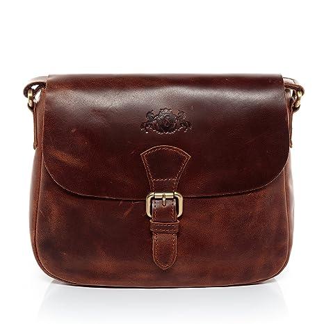 68417b6254132 SID   VAIN Schultertasche Leder Yale Handtasche Schultergurt Damen  Umhängetasche echte Ledertasche Damentasche braun