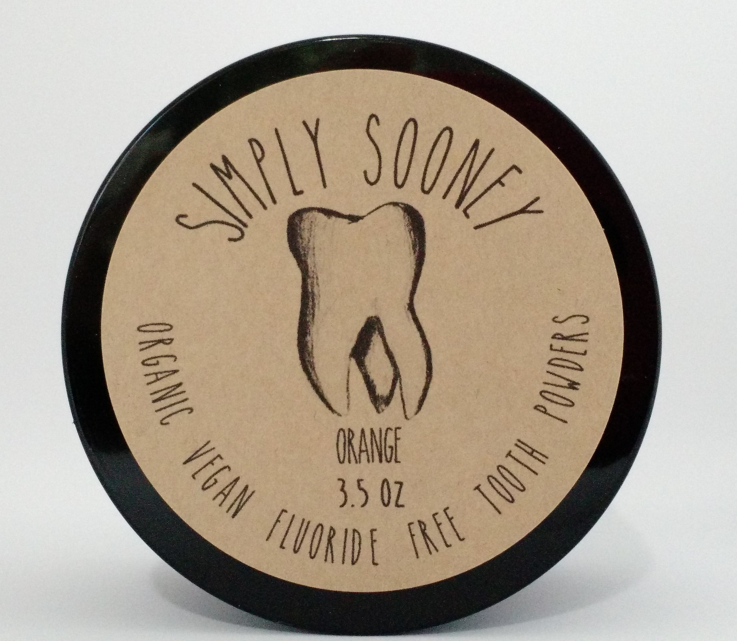 Simply Sooney Organic Vegan Fluoride Free Remineralizing Tooth Powder Orange Formula 3.5oz Suitable For Children Of All Ages (6 month supply, 100 grams)
