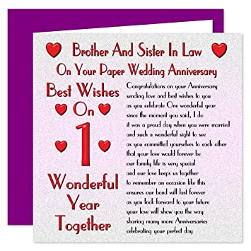 Brother Sister In Law 1st Wedding Anniversary Card On Your Paper