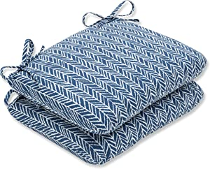 Pillow Perfect Outdoor/Indoor Herringbone Ink Round Corner Seat Cushions, 18.5