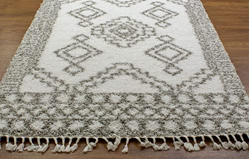 Super Area Rugs Shaggy Trellis Moroccan Rug, 5 x 8 , White and Gray Carpet with Tassels
