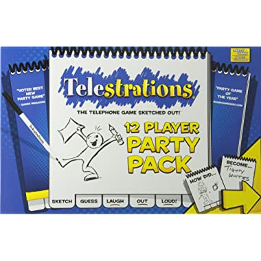 USAopoly Telestrations Party Pack 12 Player Party Game | #1 Party Game for all ages | Play with your friends and family | The fun game Telestrations with 600 new phrases to sketch