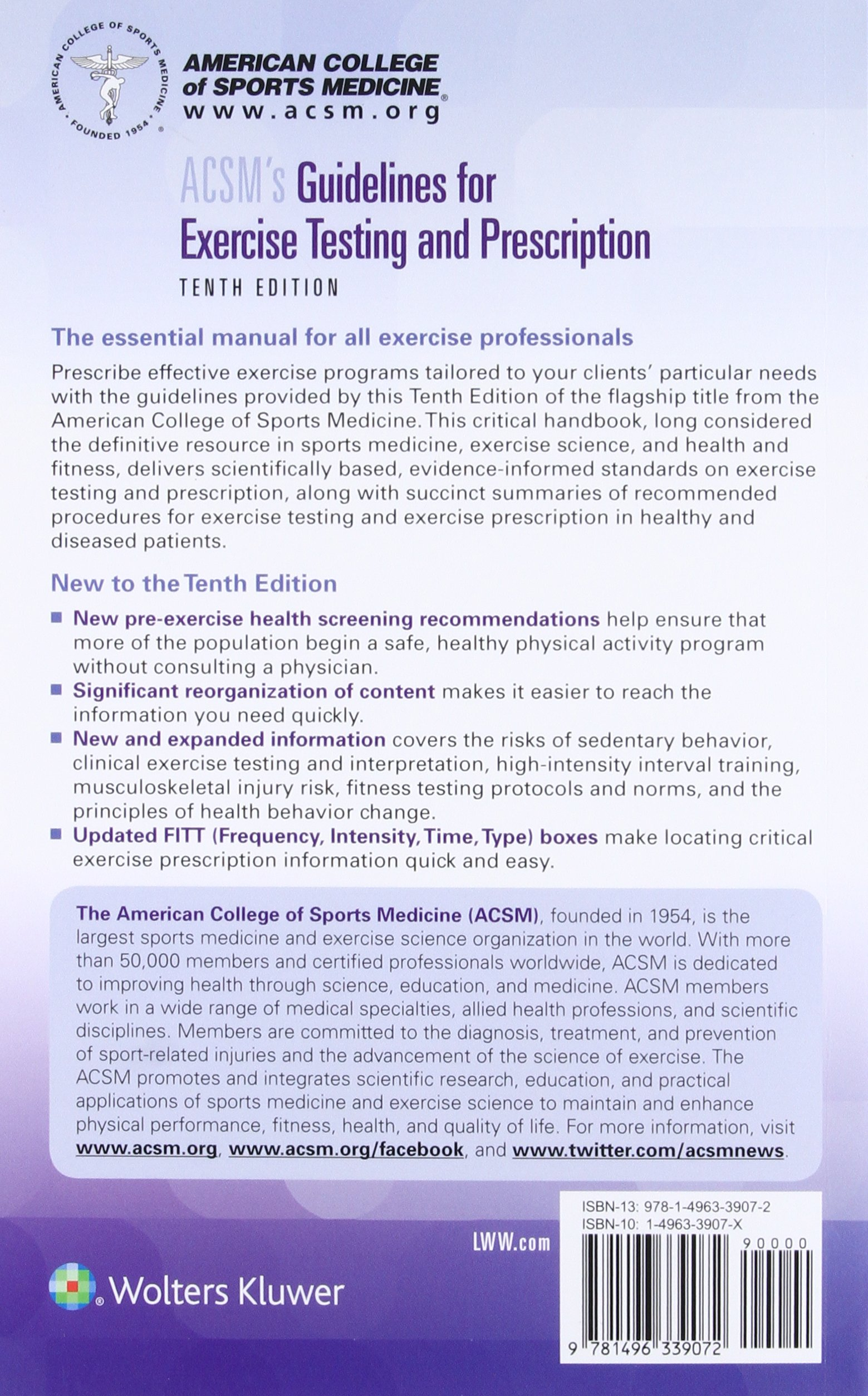 ACSM's Guidelines for Exercise Testing and Prescription: American College  of: 9781496339072: Sports Medicine: Amazon Canada