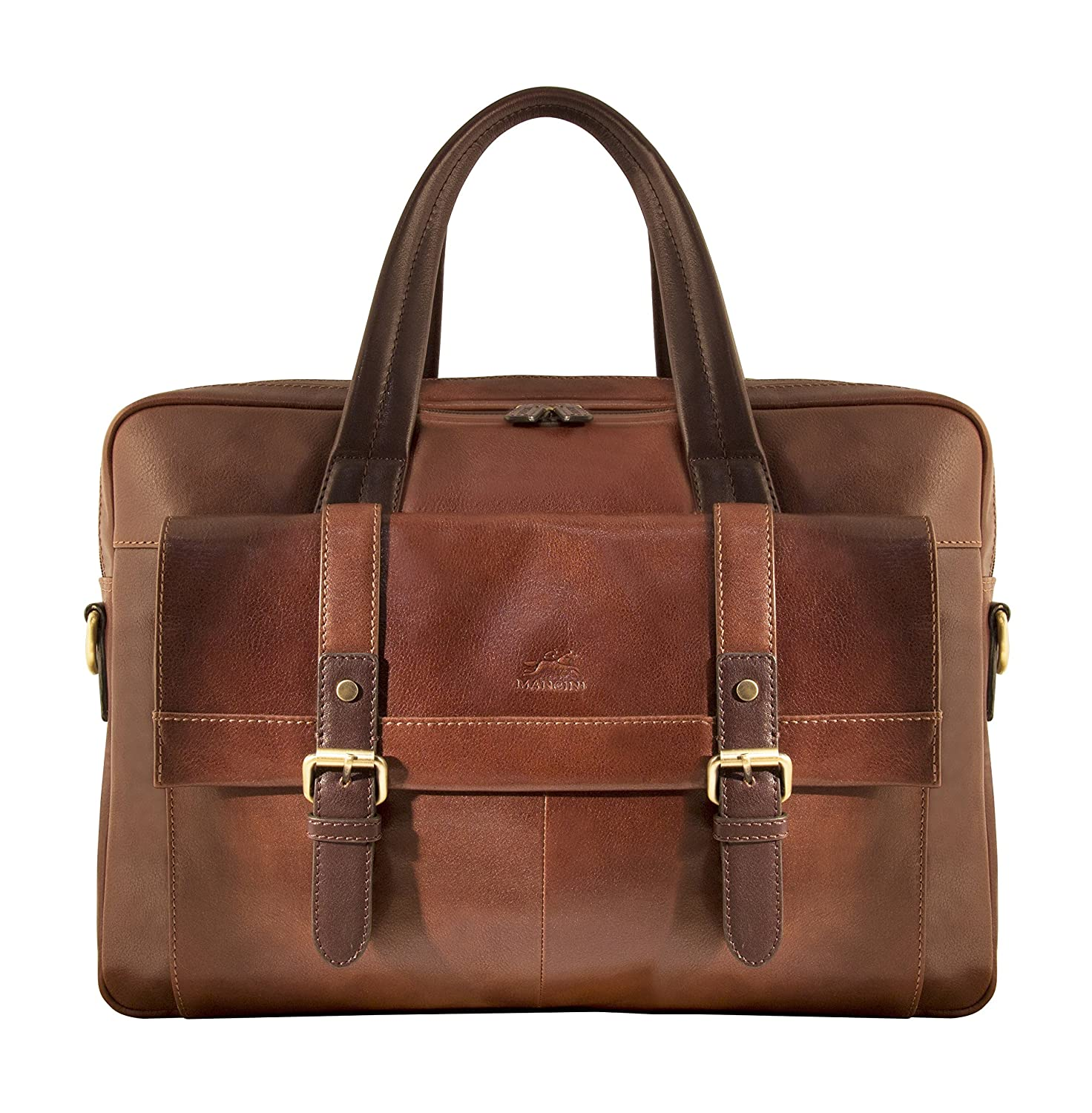 Mancini Leather Goods RFID Secure Double Compartment Laptop Briefcase
