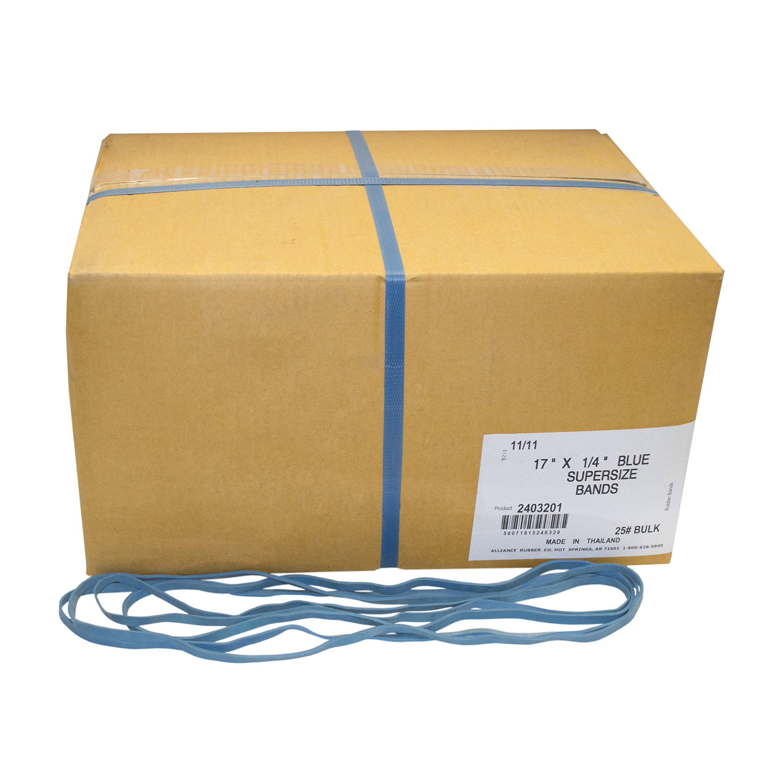 Alliance Rubber 2403201 SuperSize Bands, 17'' Blue Large Heavy Duty Latex Rubber Bands (25 lb carton contains approx. 40-50 bands per lb)