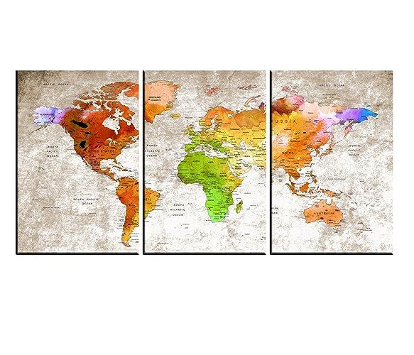Large World Map Printable.Amazon Com Large Push Pin World Map Wall Art Canvas Print World