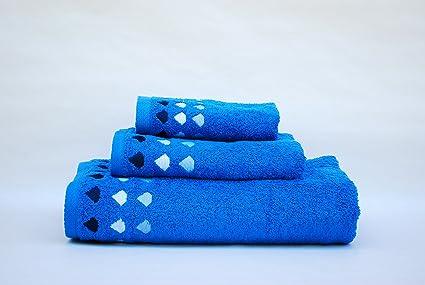 Juego de 3 toallas(100x150, 50x100, 50x30)mod. diamante azulón,