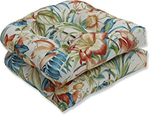 """Pillow Perfect Outdoor/Indoor Botanical Glow Tiger Lily Tufted Seat Cushions (Round Back), 19"""" x 19"""", Floral, 2 Pack"""
