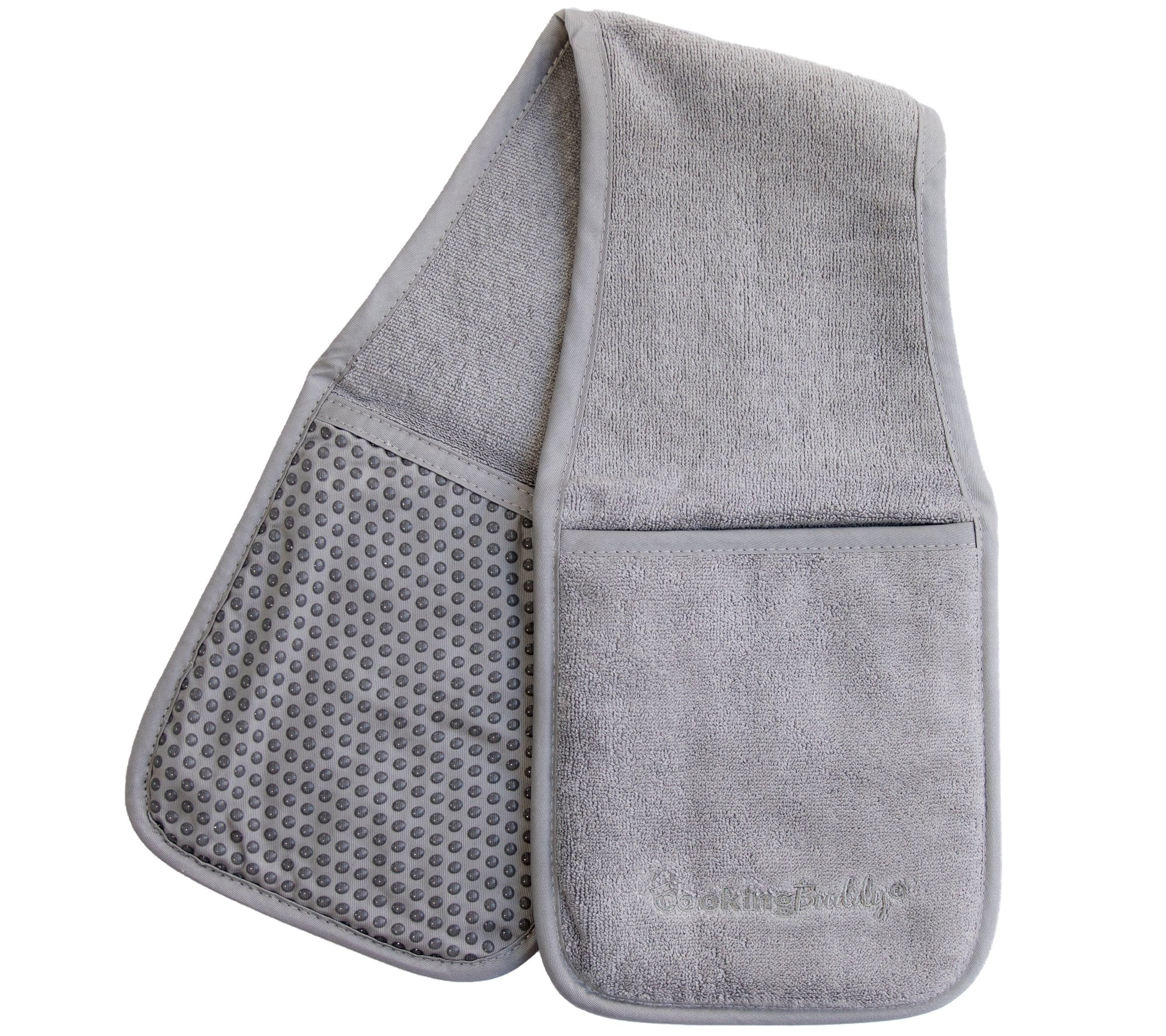 Campanelli's Cooking Buddy - Professional Grade All-In-One Pot Holder, Hand Towel, Lid Grip, Tool Caddy, and Trivet. Heat Resistant up to 500ºF. As Seen On Facebook (Gray)