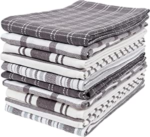 KAF Home Assorted Flat Kitchen Towels | Set of 10 Dish Towels, 100% Cotton - 18 x 28 inches | Ultra Absorbent Soft Kitchen Tea Towels | Perfect for Cooking, Cleaning, and Drying Hands (Gray)