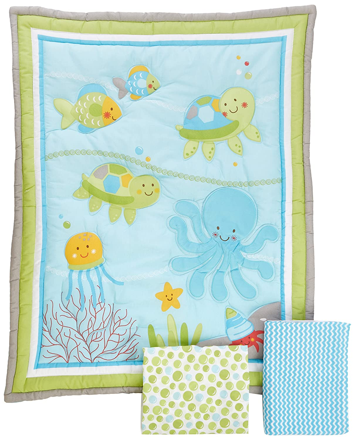 Little Bedding by NoJo Ocean Dreams 3 Piece Crib Bedding Set Crown Craft Infant Products 6071276