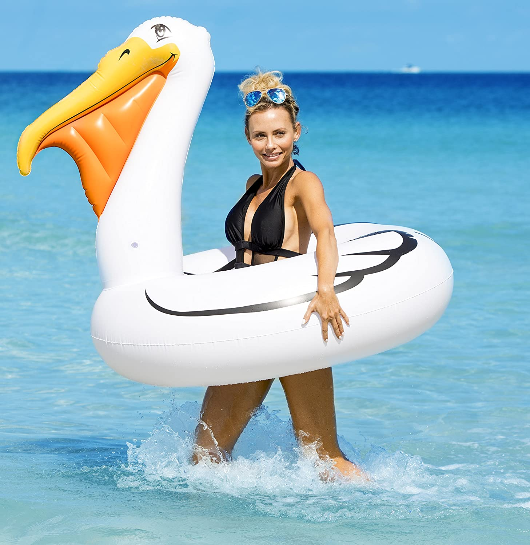 7 Ft. Coconut Float Pool Floats; Gigantic Pelican Pool Raft